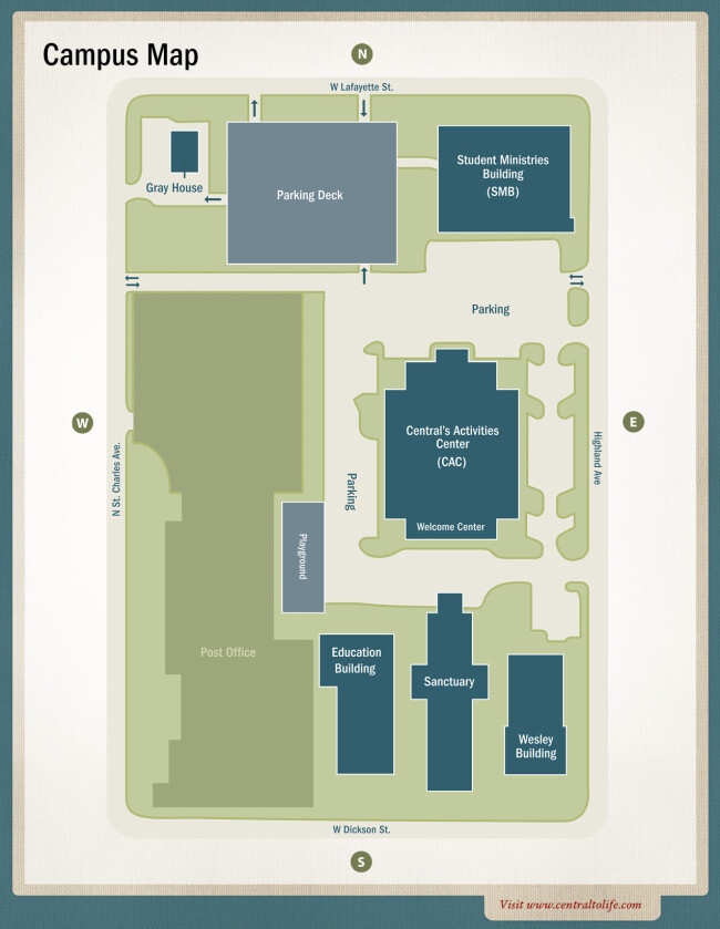 Umc Campus Map.Campus Map Central United Methodist Church